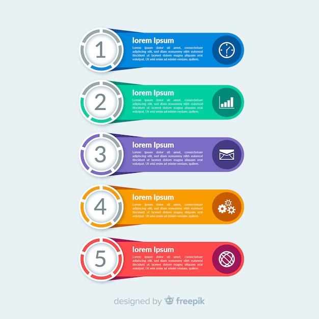 Étapes infographiques plat coloré Vecteur gratuit
