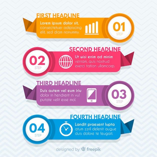 Étapes infographiques plat Vecteur gratuit