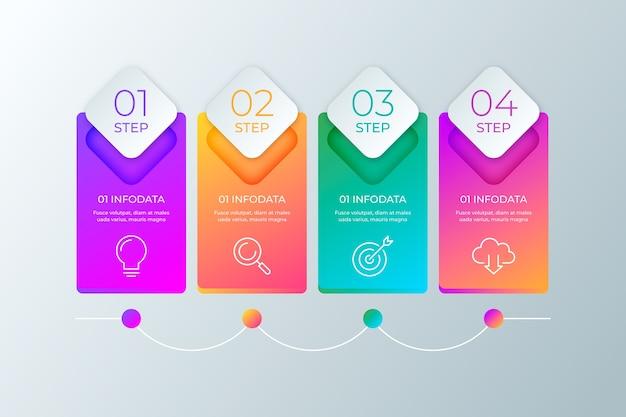 Étapes infographiques professionnelles Vecteur gratuit