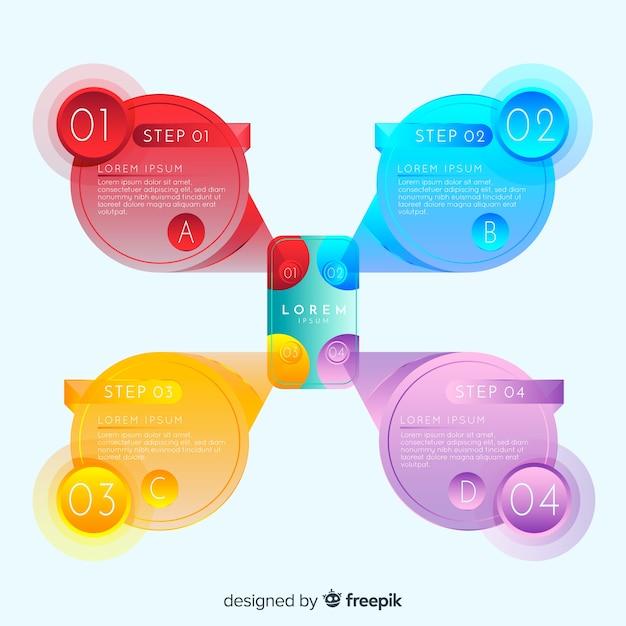 Étapes infographiques avec style dégradé Vecteur gratuit