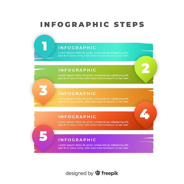 Étapes infographiques Vecteur gratuit