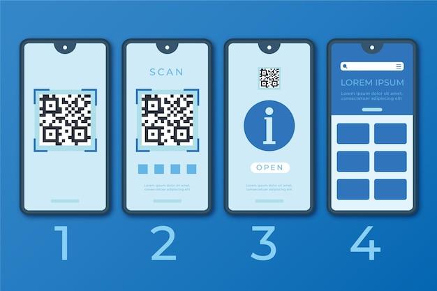 Étapes De Numérisation De Code Qr Illustrées Avec Smartphone Vecteur gratuit