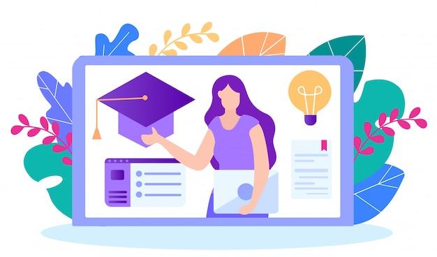 Étapes d'obtention du diplôme. l'enseignement à distance. Vecteur Premium