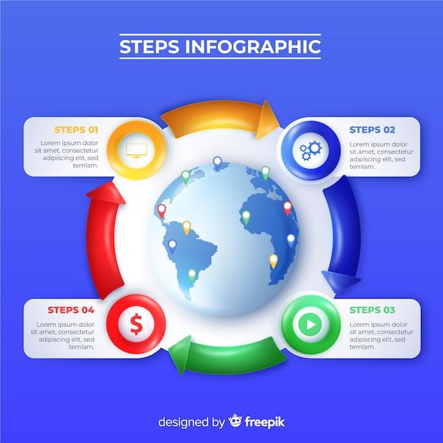 Étapes réalistes d'une infographie brillante Vecteur gratuit