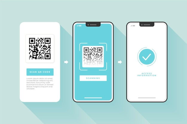 Étapes De Scan De Code Qr Sur Smartphone Vecteur gratuit