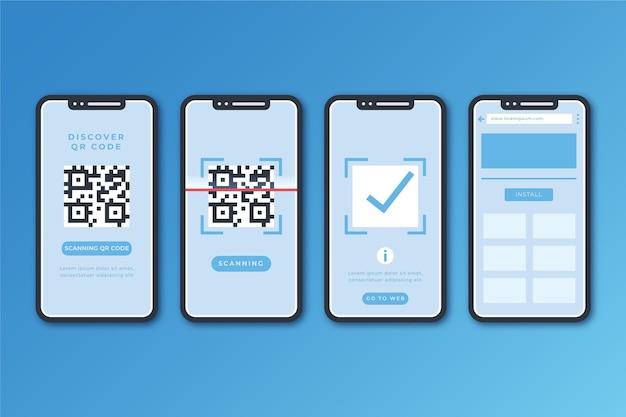 Étapes De Scan De Code Qr Avec Smartphone Vecteur gratuit