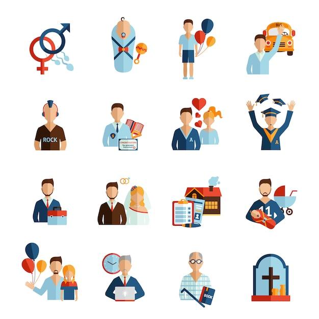 Étapes de la vie icons set Vecteur gratuit