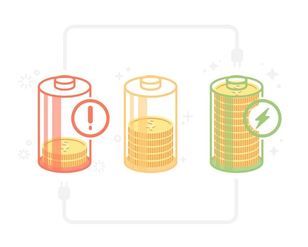 État énergétique dans la batterie Vecteur Premium
