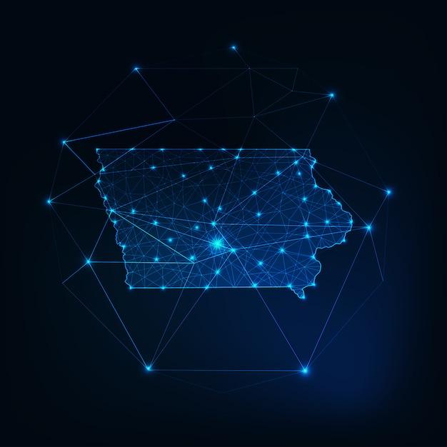État des états-unis iowa carte lueur silhouette contour fait de triangles de points étoiles lignes, basses formes polygonales. Vecteur Premium
