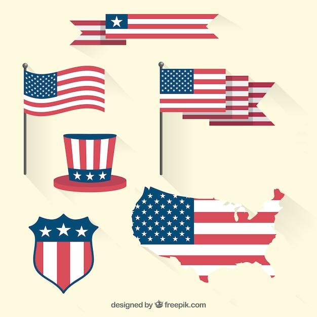 États-unis D'amerca Flag Set Vecteur Premium
