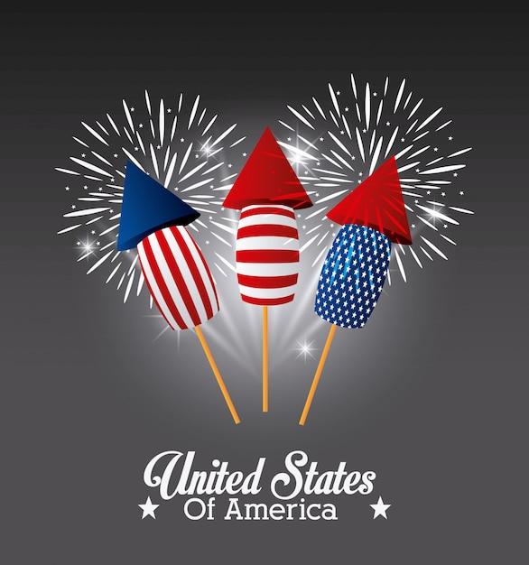 États-unis d'amérique design avec feux d'artifice Vecteur gratuit