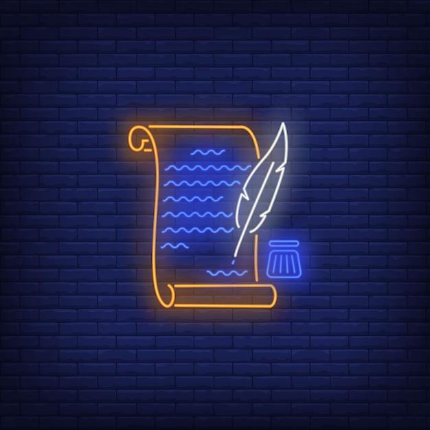 États-unis déclaration d'indépendance enseigne au néon. symbole des usa, histoire. Vecteur gratuit