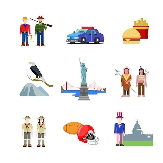 États-unis états-unis D'amérique Culture Américaine Nationale Vecteur gratuit