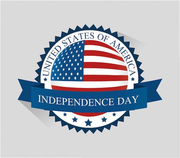 États-unis joyeuse fête de l'indépendance, célébration du 4 juillet Vecteur gratuit