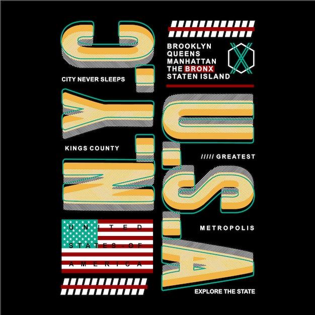 États-unis avec ligne abstraite conception de typographie graphique pour t-shirt imprimé prêt Vecteur Premium