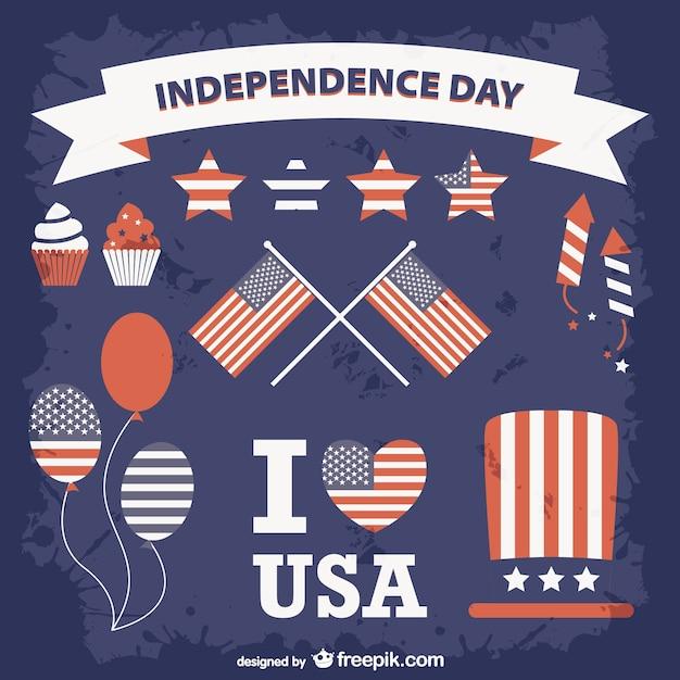 Etats-unis situé à jour de l'indépendance Vecteur gratuit