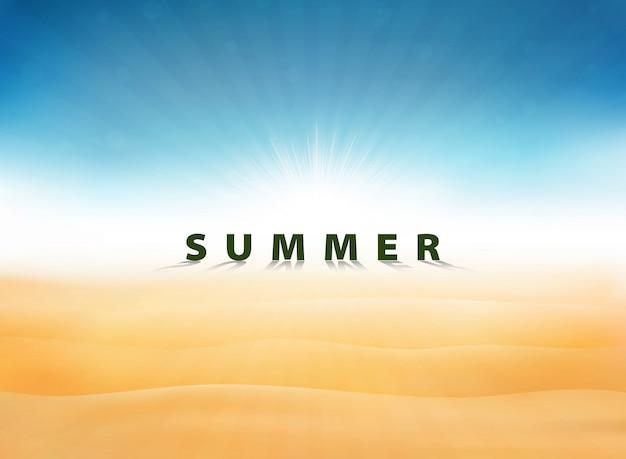 Été abstrait avec soleil éclaté de ciel bleu sur le désert Vecteur Premium