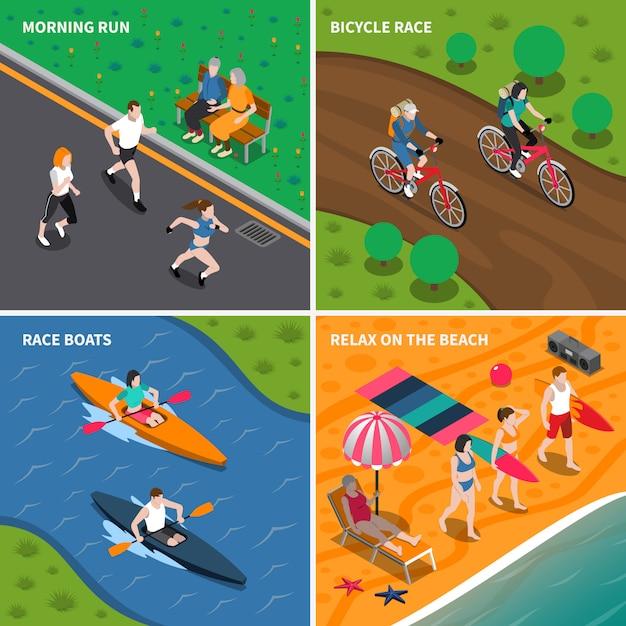 Été activités de plein air icon set Vecteur gratuit