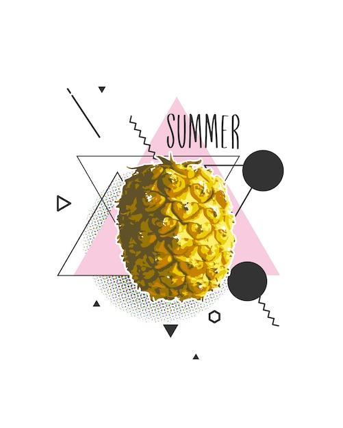 Été avec ananas en illustration Vecteur Premium