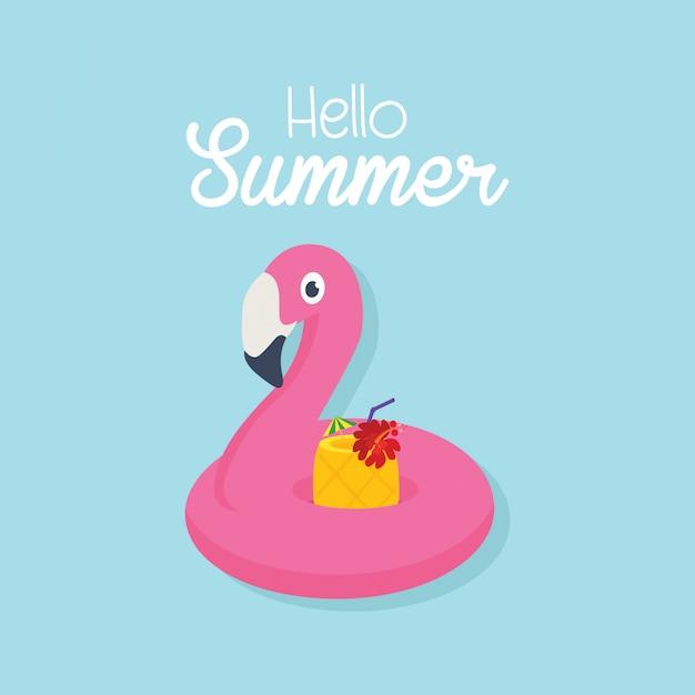 En été, flamant gonflable avec un cocktail dans une piscine Vecteur Premium