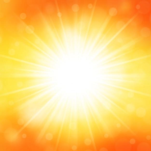 Été fond ciel et soleil lumière avec illustration vectorielle de lentille flare. Vecteur Premium