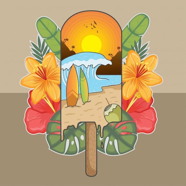 Été glace vague soleil vacances noix de coco surf Vecteur Premium