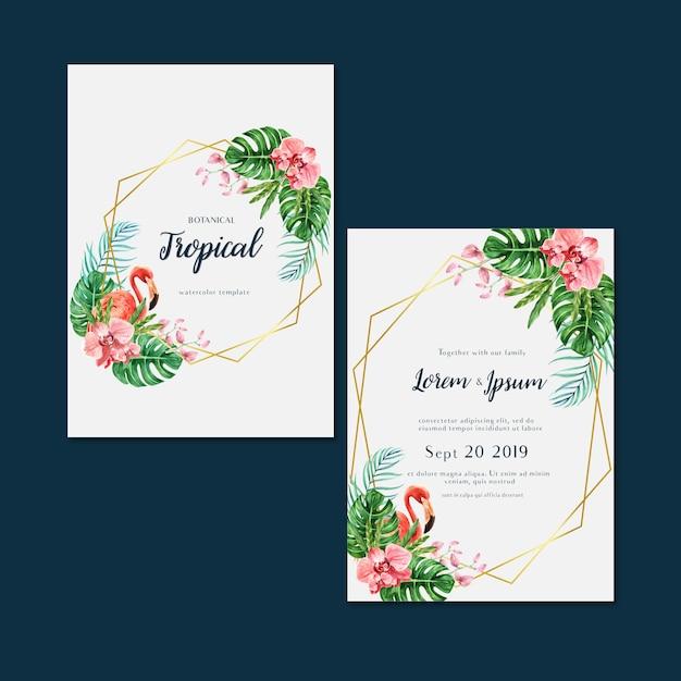Été d'invitation carte tropicale avec plantes feuillage exotiques, aquarelle créative Vecteur gratuit