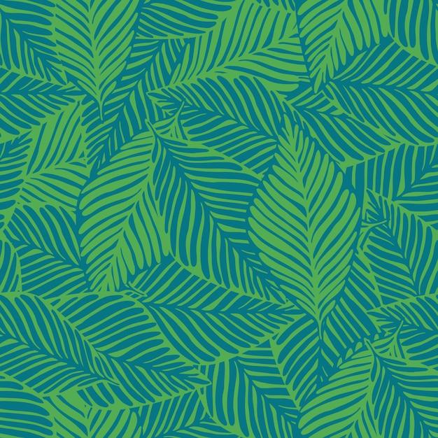 Été nature impression jungle. plante exotique. motif tropical, feuilles de palmier sans soudure Vecteur Premium