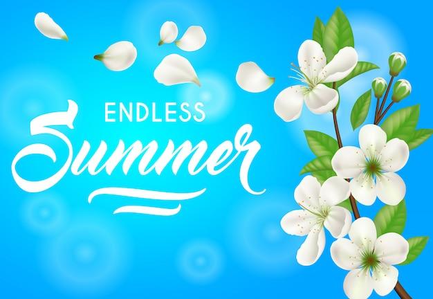 Été sans fin, bannière avec des fleurs de pommier sur fond bleu ciel. Vecteur gratuit