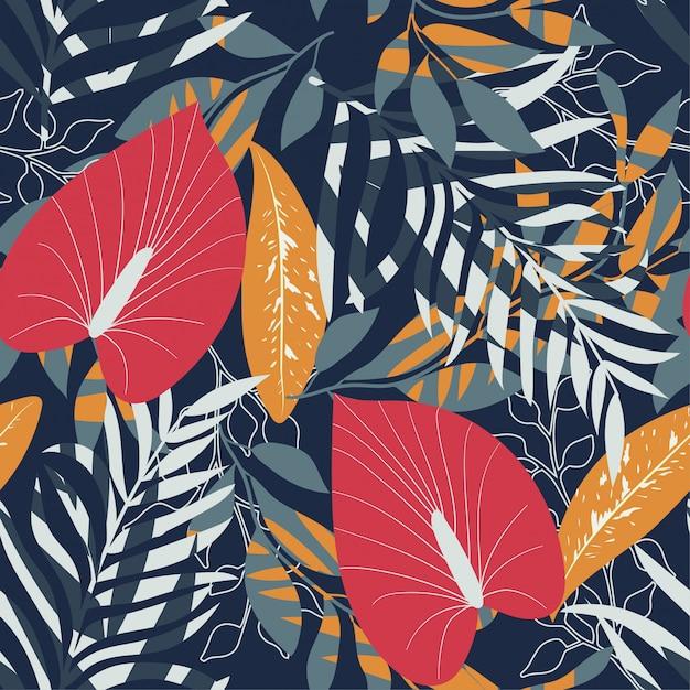 Été tendance fond sans couture avec les plantes et les feuilles tropicales vives Vecteur Premium