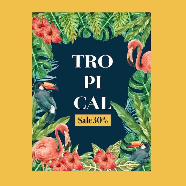Été tropical affiche avec un feuillage de plantes exotiques, aquarelle créative Vecteur gratuit