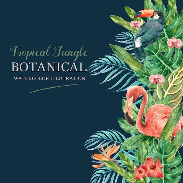 Été tropical cadre frontière avec des plantes feuillage exotiques, aquarelle créative Vecteur gratuit