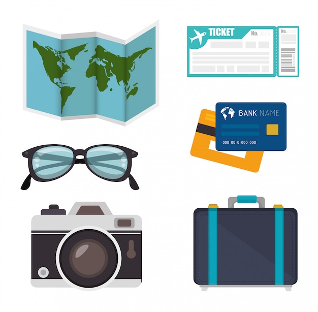 Été, voyage et vacances Vecteur Premium