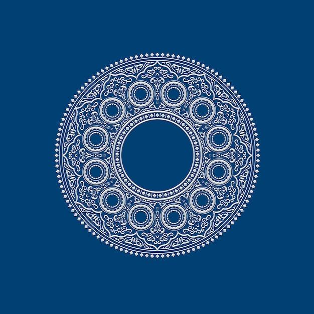 Ethnique délicat blanc mandala rond sur bleu Vecteur Premium