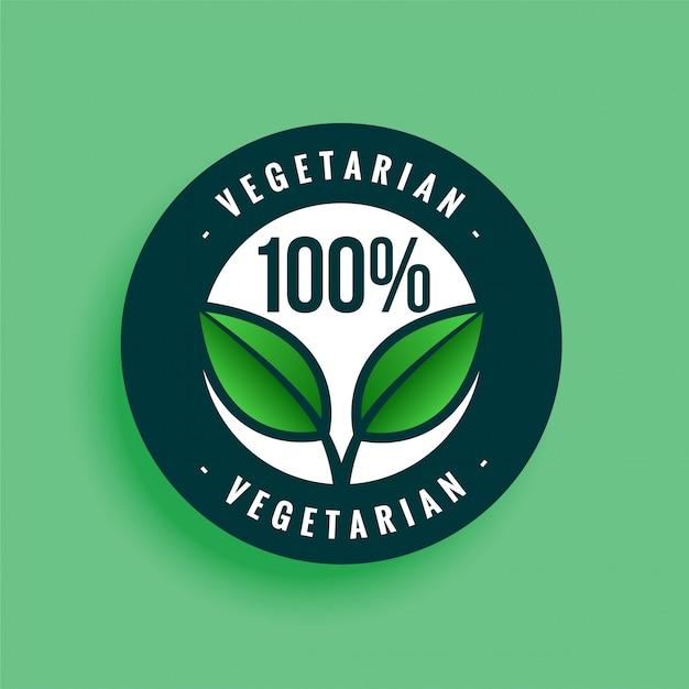 Étiquette 100% Végétarienne Vecteur gratuit