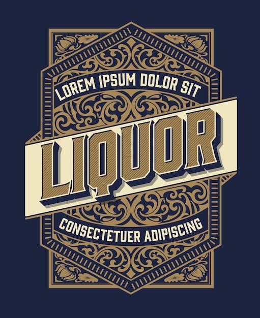 Étiquette D'alcool Vintage Rétro Vecteur Premium