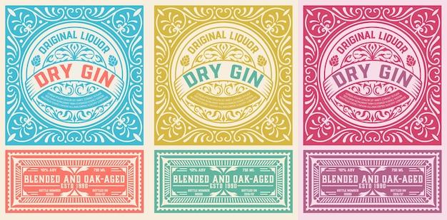 Étiquette Antique Avec Liqueur De Gin Vecteur Premium