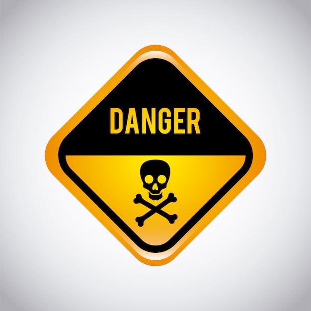 Étiquette d'avertissement sur fond gris Vecteur gratuit