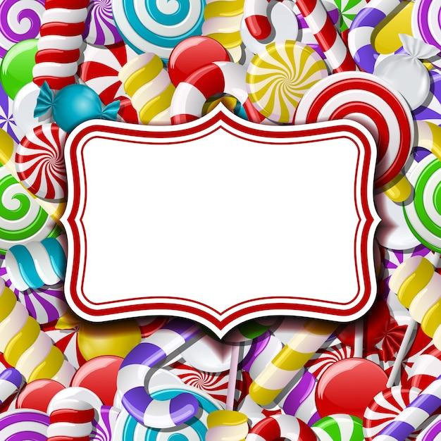 Étiquette de cadre sur sweet Vecteur Premium