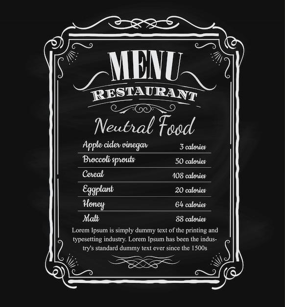 Étiquette de cadre tableau noir dessiné main menu restaurant vintage Vecteur Premium