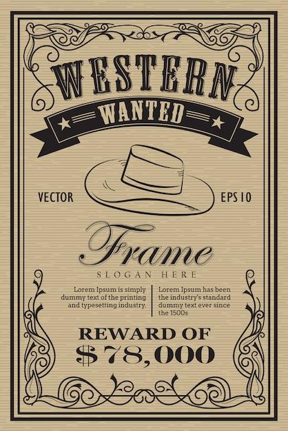 Étiquette de cadre vintage occidentale voulait illus vecteur dessiné à la main rétro Vecteur Premium