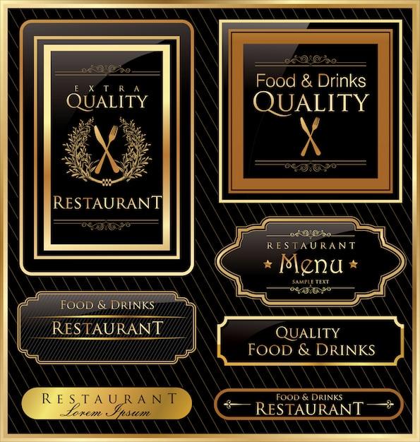 Étiquette de cadre vintage vector noir or Vecteur Premium