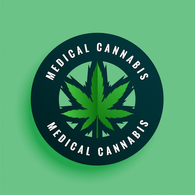 Étiquette De Cannabis Médical Ou Arrière-plan De Conception D'autocollant Vecteur gratuit