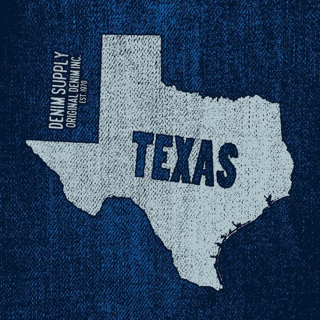 Étiquette Avec Carte Du Texas Vecteur Premium