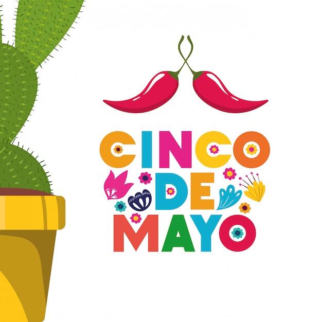 Étiquette cinco de mayo avec l'icône de cactus Vecteur Premium