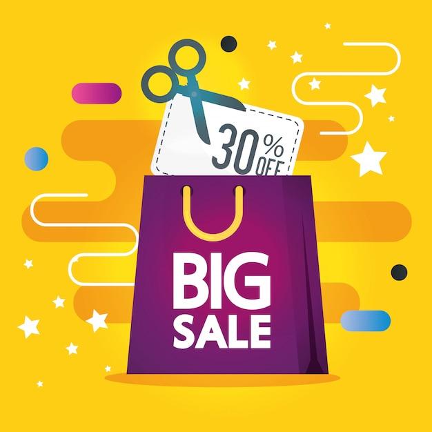 Étiquette commerciale avec lettrage de grande vente et bannière de sac Vecteur gratuit