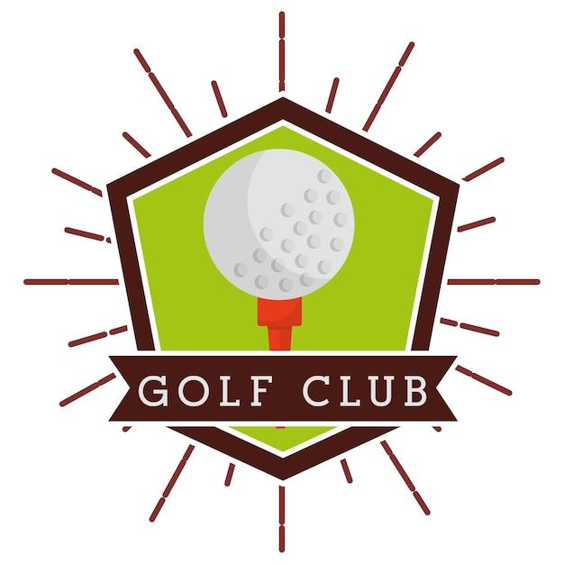 Étiquette de compétition de club de golf de balle Vecteur Premium