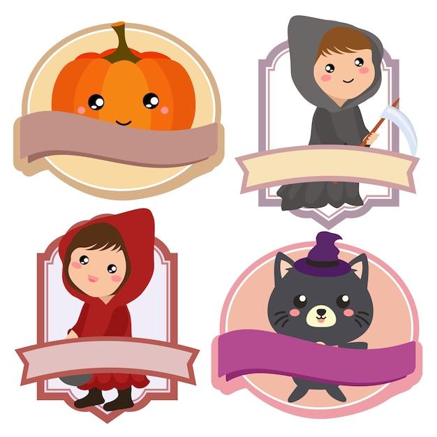 Étiquette de costume de citrouille rouge halloween Vecteur Premium