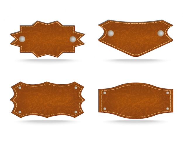 Étiquette en cuir Vecteur Premium