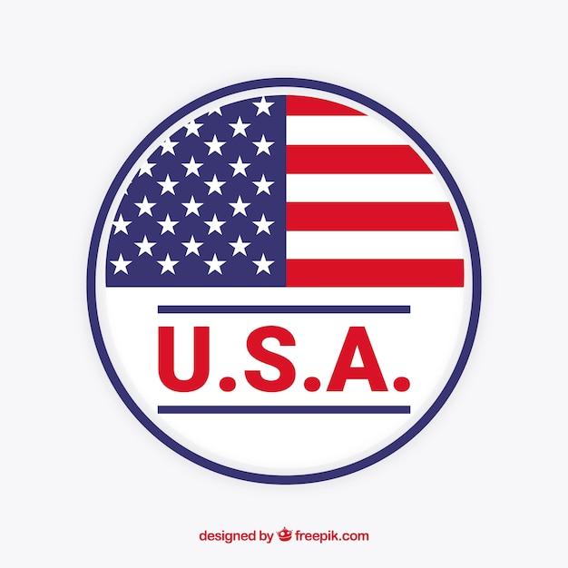 Étiquette Du Drapeau Américain Vecteur Premium